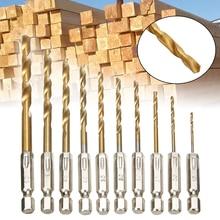цены 10pcs Multi Diameter 1.5mm-6.0mm Hexagonal Drill Bit Set Titanium-plated Twist Drill Bit Cordless Screwdriver
