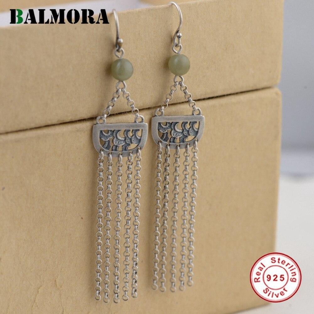 BALMORA 925 Sterling Silver Tassel Long Drop Earrings for Women Gift Ethnic Retro Earrings Thai Silver Jewelry Brincos SY31539 цены онлайн