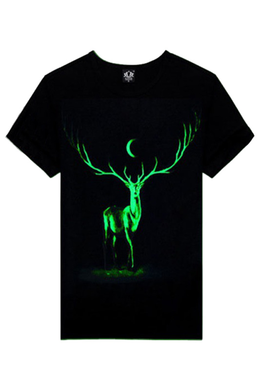 Hot Adult Men Fashion Deer Shirt Moon Noctilucent Tee Cotton O-neck short sleeve shirt Casual Hipster Homme T-shirt