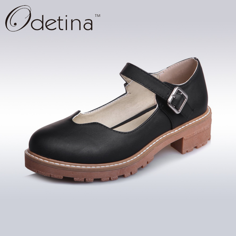 Odetina 2017 New Women Mary Jane Shoes Flats Fashion Ladies Casual Flat Shoes Mary Janes Womens Round Toe Buckle Strap Platform peacock embroidery women shoes old peking mary jane flat heel denim flats soft sole women dance casual shoes height increase