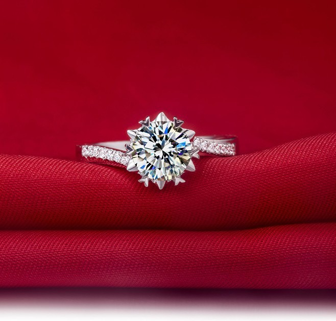 1 Carat Genuine White Gold Snow Flake Style Great Synthetic Diamonds Wedding Ring For Women Reliable Quality Fabulous In Engagement Rings From