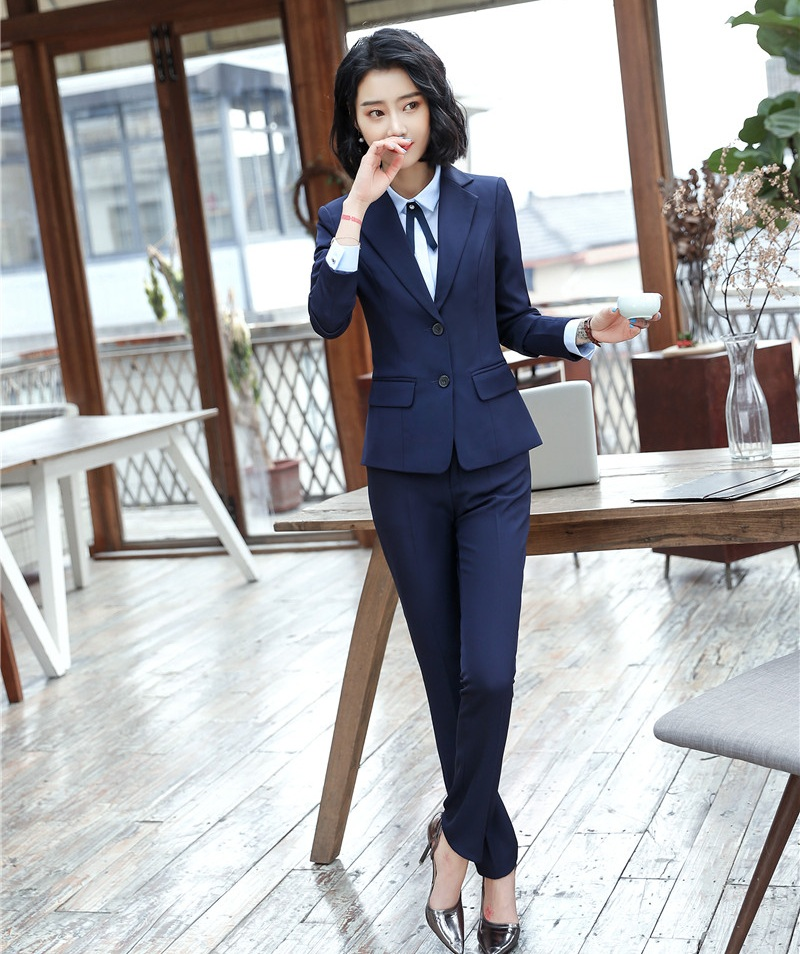 Formal Black Blazer Women Pant Suits Office Ladies Business Work Wear Set Navy Blue Office Uniforms Ol Styles Suits & Sets