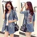 2017 spring and summer in Europe and America large size hole sleeve denim jacket women TB762
