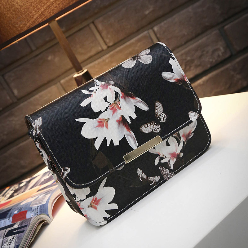 2017 Women Bag Floral Print PU Leather Shoulder Bag Satchel Handbag Lady Casual Phone Purse Retro Mini Messenger Bags feitong famous brand bags for women 2016 fashion floral pu leather shoulder crossbody bag satchel handbag messenger bag bolsos