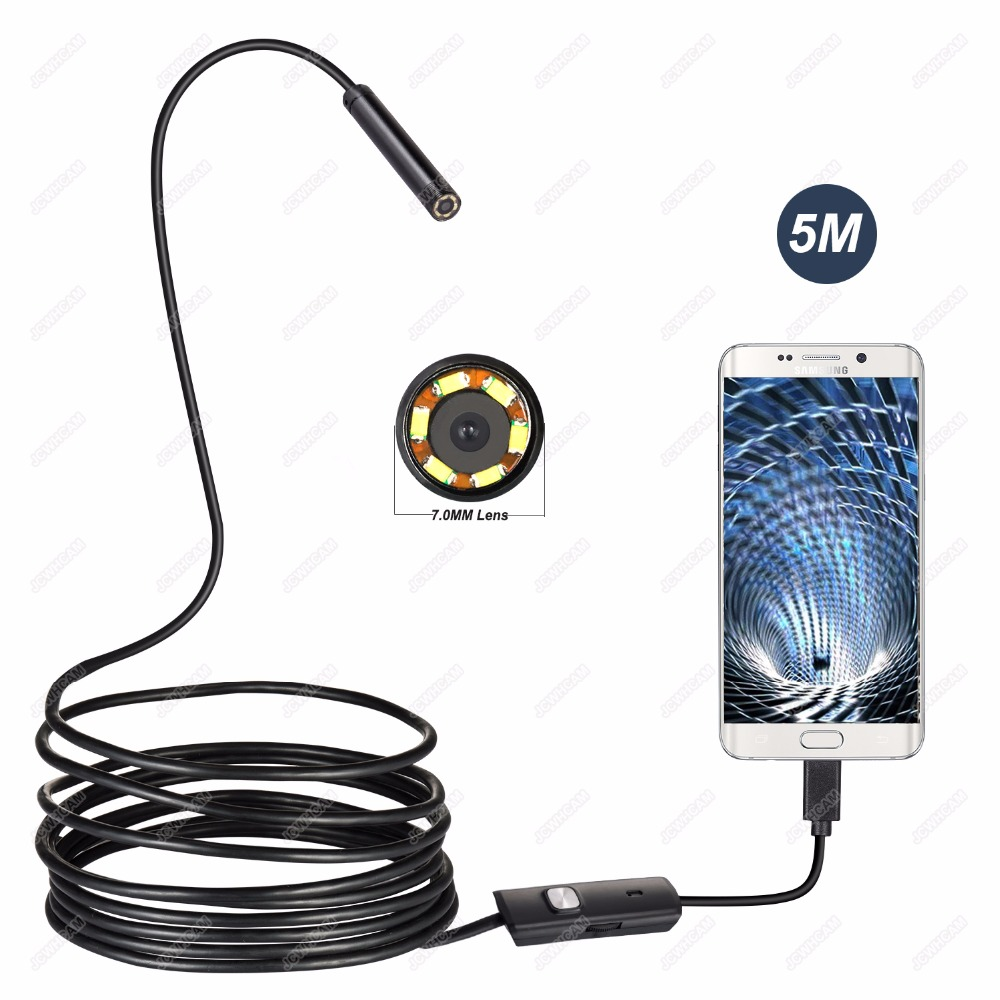 1/2/3/5M/10M 7MM USB Endoscope Waterproof Android Borescope Sewer Camera For OTG USB Wire Snake Tube Camera Car Inspection