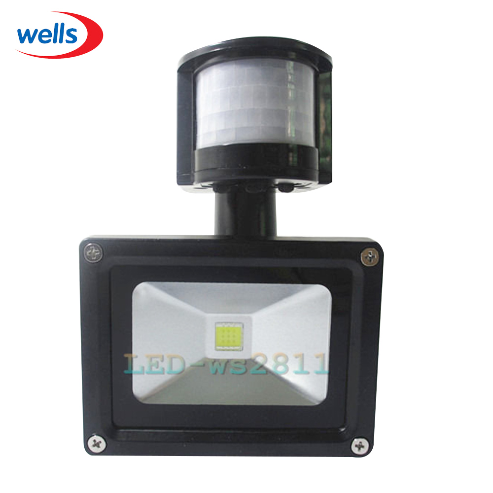 10W Cool Warm White LED PIR Motion Sensor IP65 Flood Light Spotlight AC85~265V free shipping led flood outdoor floodlight 10w 20w 30w pir led flood light with motion sensor spotlight waterproof ac85 265v