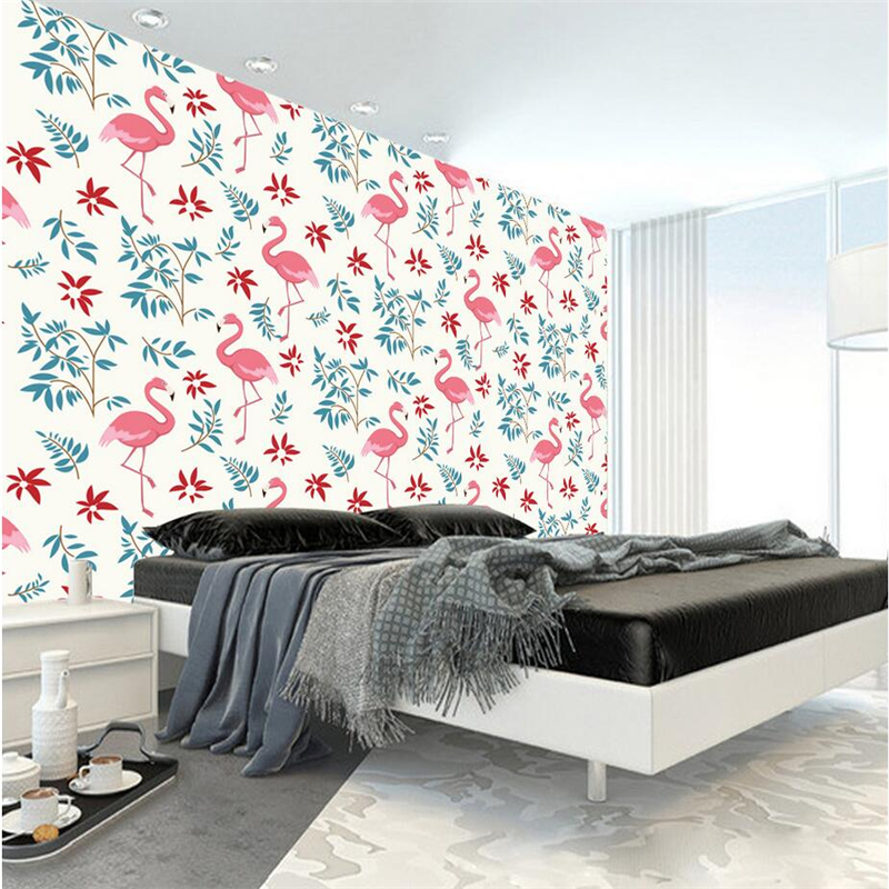Custom Embossed Wall Paper Hand Painted Flamingo Photo 3d Wallpaper TV Background Wall Mural Wallpaper Living Room Restaurant shinehome 3d fantastic colorful balloons embossed wallpaper background mural rolls for kids living room wall paper decal art