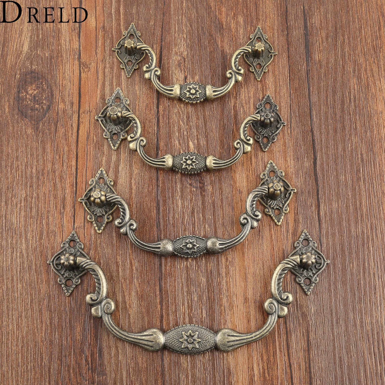 DRELD 1Pc Antique Furniture Handles Cabinet Knobs and Handles Drawer Cabinet Kitchen Pull Cupboard Handle Furniture Fittings vintage furniture handles cabinet knobs and handles zinc alloy cupboard handles drawer wardrobe pull handles furniture fittings