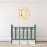 Personalized Custom Monogram Gift Block Letter Engraved Wood Sign Wedding Gift Family Gifts Nursery Wall Door Decoration