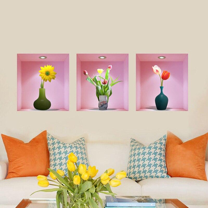 3PCS/lot 3D wallpaper vase False windows Mediterranean princess Girls room wall stickers bedroom living room decorative murals