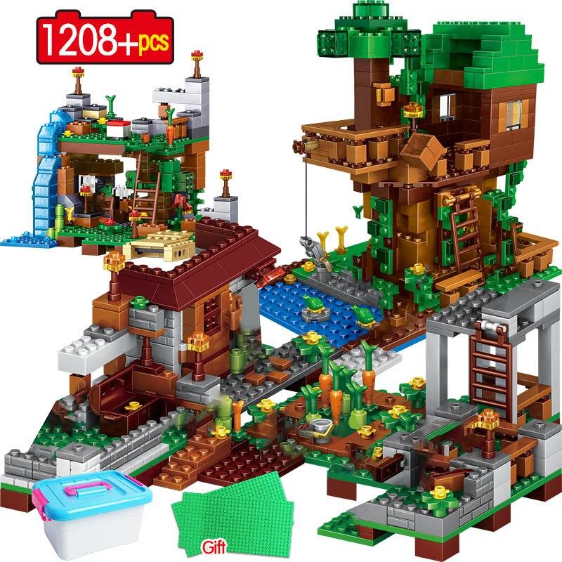 1208 pçs blocos de construção legoingly meu mundo aldeia warhorse cidade árvore casa cachoeira tijolos educativos crianças brinquedos
