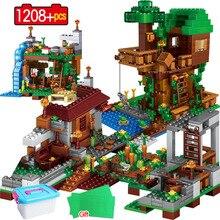Bloques de construcción de un pueblo de la ciudad para niños, 1208 Uds., casa del árbol de la ciudad, cascada, bloques, juguetes educativos para niños