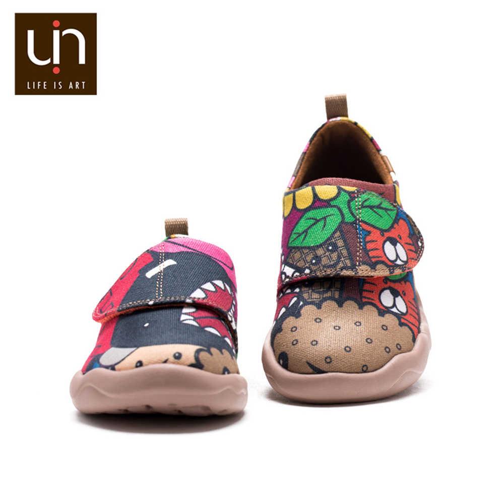 UIN ColaCola การออกแบบมือวาดเด็กเล็กรองเท้า Easy Hook & Loop รองเท้าผ้าใบน้ำหนักเบาเด็ก Comfort รองเท้า /ชาย