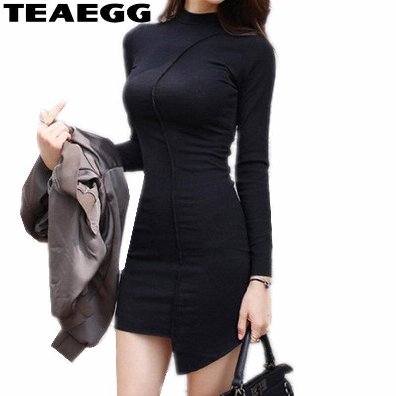 TEAEGG 2019 nouveauté printemps automne à manches longues robe Sexy O cou noir coton robe de soirée Mini Slim dames robes AL803