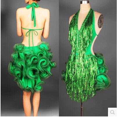 Платье для латинских танцев зеленый профессиональный костюм для женщин бахрома samba костюм красочные женские бальные платья для соревнован