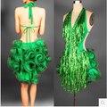 Vestido de baile latino verde profesional para las mujeres de samba traje mujeres colorido competencia de baile vestidos borlas