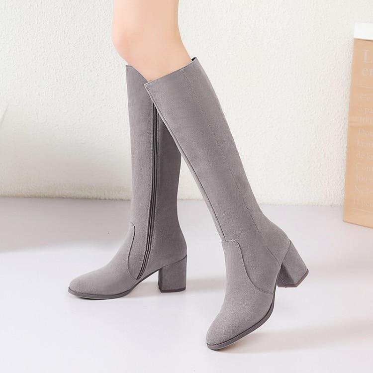 a60e2a1f3c1 Mujer Alto Calidad Invierno Mujeres Alta Gamuza Negro Cuero Tacón Encima  Rodilla Interior Las Zapatos Botas Por De ...