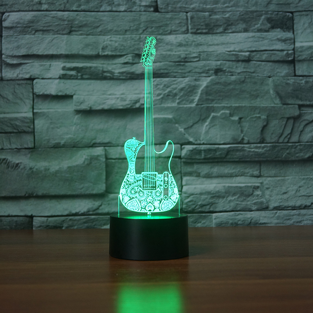 music addiction cool guitar bass 3d led lamp night light for musicians home decoration student birthday