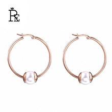 Minimalist Imitation pearl hoop earrings fashion jewelry rose gold titanium stainless steel big for women J30