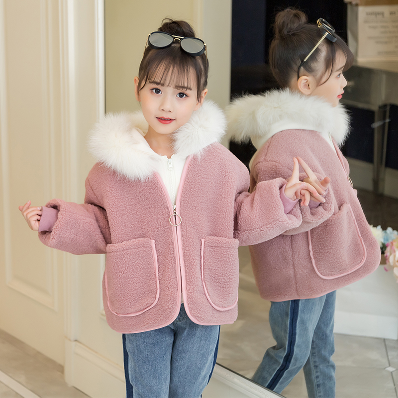 4-13 year old girl coat autumn and winter Fashion Fur collar wool coat outwear 2 pieces sets Hooded sweater + plus velvet jacket v neckline fur cuff sweater page 4