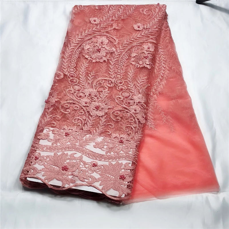 Arts,crafts & Sewing Novelty 3d French Lace Peach 5 Yards/lot 2018 Handwork Multilayer Flower African Lace Fabric For Wedding Dress Cdf To Have A Long Historical Standing
