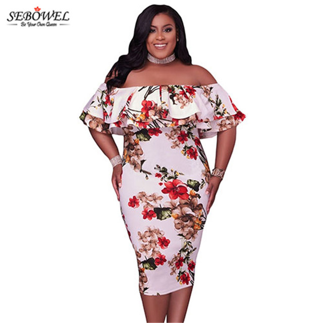 bff469d0751ad SEBOWEL Summer Floral Off Shoulder Plus Size Party Dress Women Big Size  XXXL Elegant Bodycon Evening Midi Dress Long Club Dress