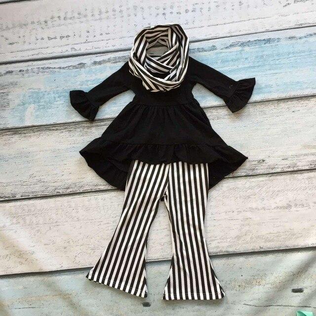 Детские девушки осень 3 шт. шарф одежда девушки черный топ костюмы новорожденных девочек бутик одежды девушки мода свободные брюки одежда