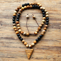 8mm Brown Round Picture Jasper Stone Beads Pendant Mens Tribal Style Necklace