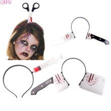 QIFU Fake Blood Headband Halloween Costumes For Women Horrible Pranks Props Decoration Party Accessories