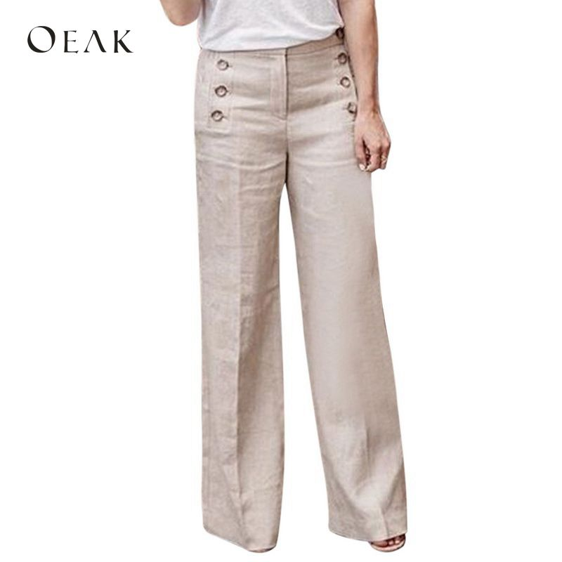 OEAK 2018 Women Solid Button Loose   Wide     Leg     Pants   Fashion High Waist Stretch Casual Cotton Linen Long   Pants   Trousers Plus Size