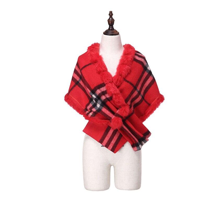 ZY87036 2016 nouveau Design spécial mode femmes automne hiver géométrique écharpe laine avec col de lapin de luxe enveloppes Poncho - 4