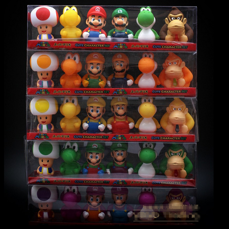 6pcs/set Super Mario Bros Luigi Mario Yoshi Bath Toys 7cm Super Mario Action Figure Toy Model, Anime Brinquedo, In Retail Box