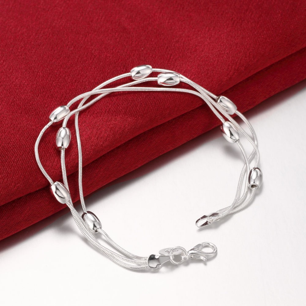 Wholesale fashion jewelry set .N925 jewelry three-line light bead bracelet necklace sets of simple geometry S140