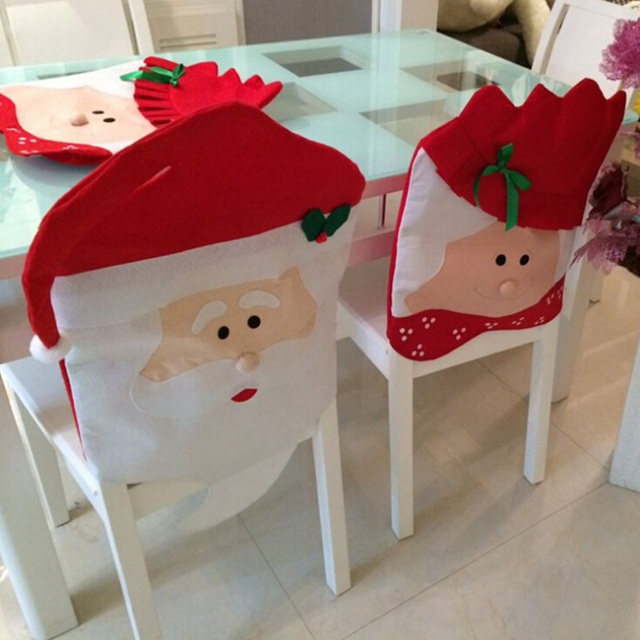 2pcs Christmas Chair Cover Set Mr Mrs Santa Clause Babbo Natale Decoration Hat Covers Xmas