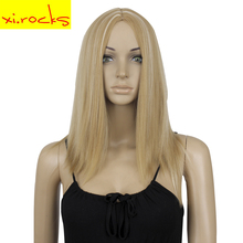 3166 19Inch Shoulder Length Wig Blonde Ombre Straight Synthetic Wigs For Women Heat Resistant Fiber Full Head Hair Free Shipping