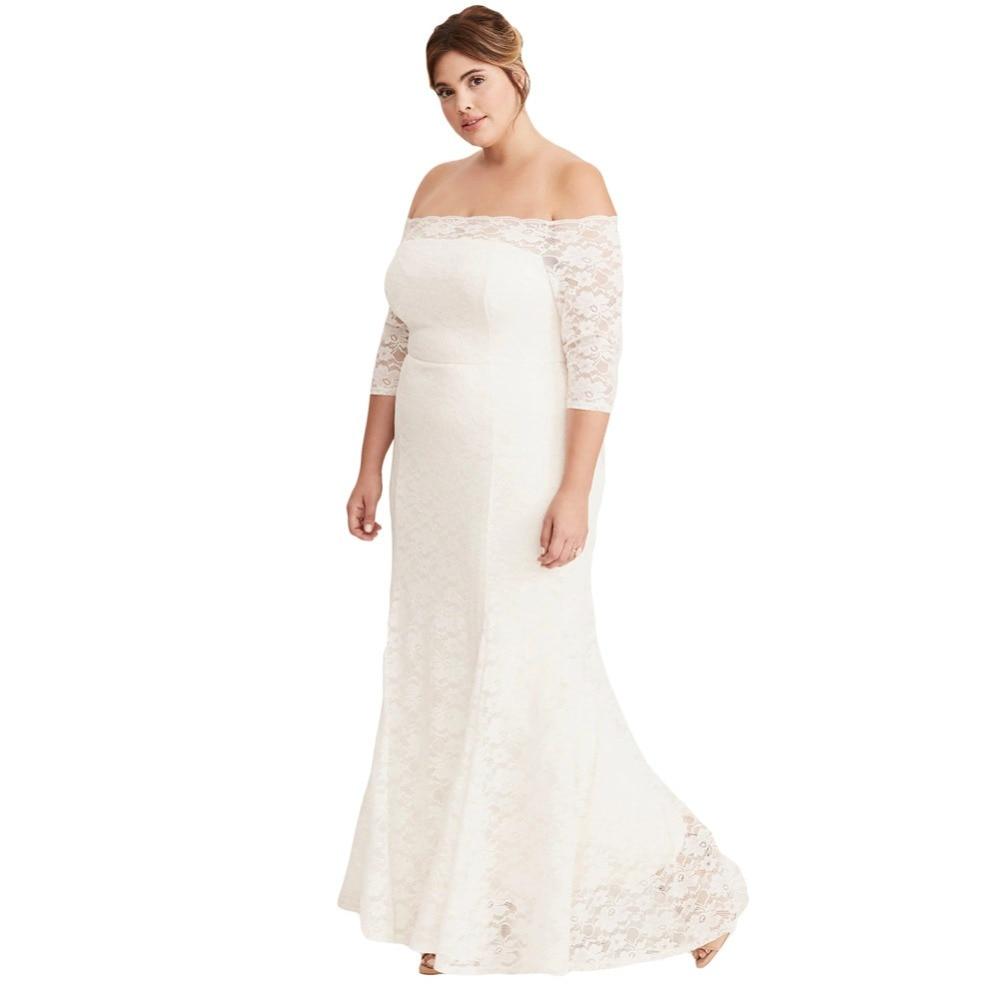 37d8982732ed Black/White Plus Size Lace Off Shoulder Party Maxi Dress Women Long Formal  Elegant Floor Length Plus Size XXXXXL 4XL Dresses