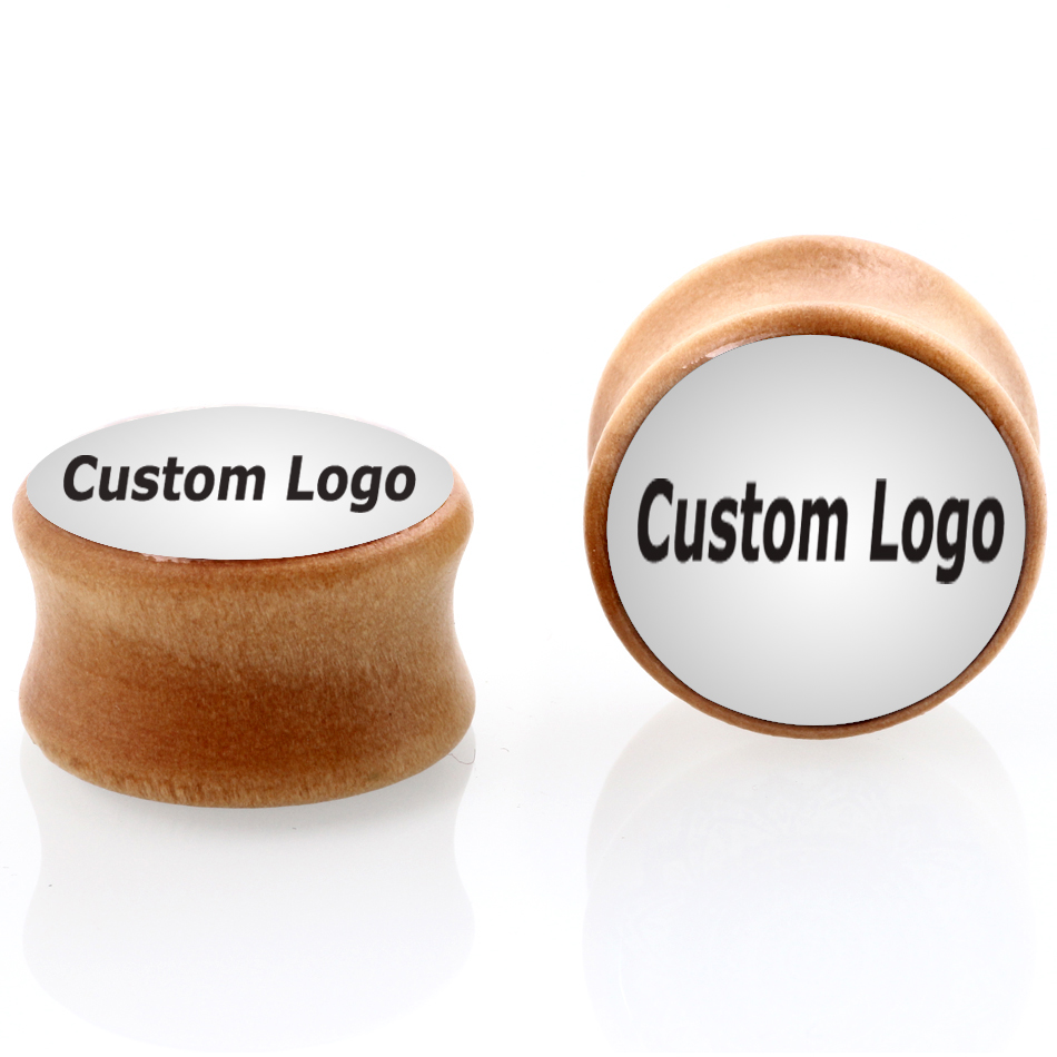 Wholesale organic wood custom logo ear plug gauges expander tunnel body piercing jewelry mix 8mm 25mm