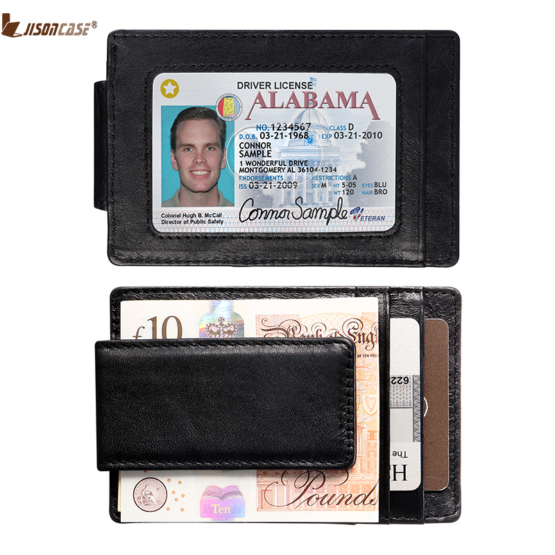 Jisoncase Man Woman Wallets Leather Minimalist Money Dollar Clip Wallet Fashion Card Holder With ID Driver Window Bag ...