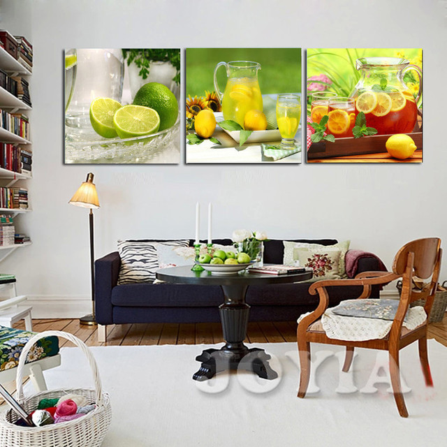 Moderne Obst Wandmalereien, zitrone Tee Pictures Home Küche Dekor Leinwand Wandkunst, Esszimmer Wanddekor Kunst Poster Kein Rahmen in Moderne Obst ...