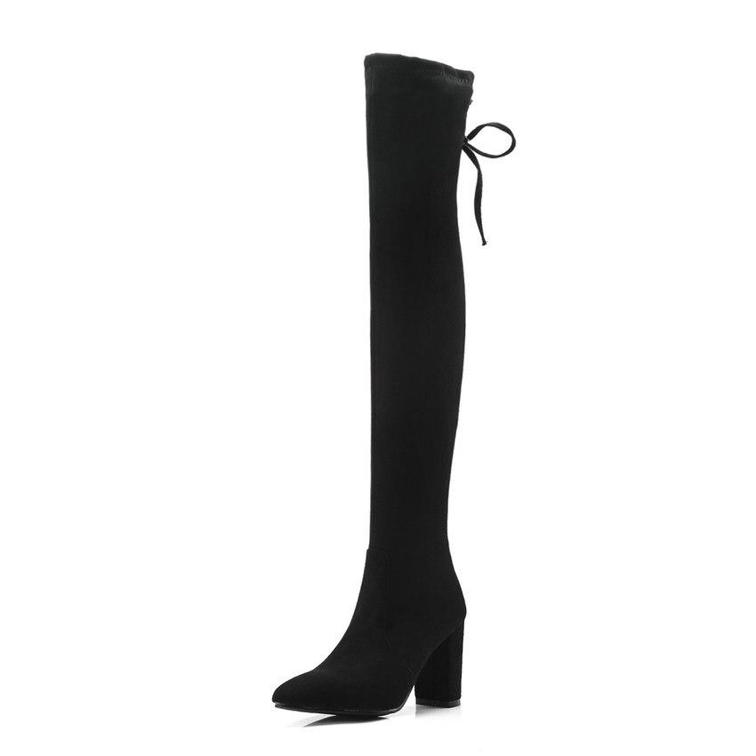 2019 34 Grand Femmes Noir Qutaa Bottes Le gris Hiver Chaussures Genou Haute De forme Talons Mode Sabot 43 Taille Sur Plate Occasionnels FU5wwqndaf