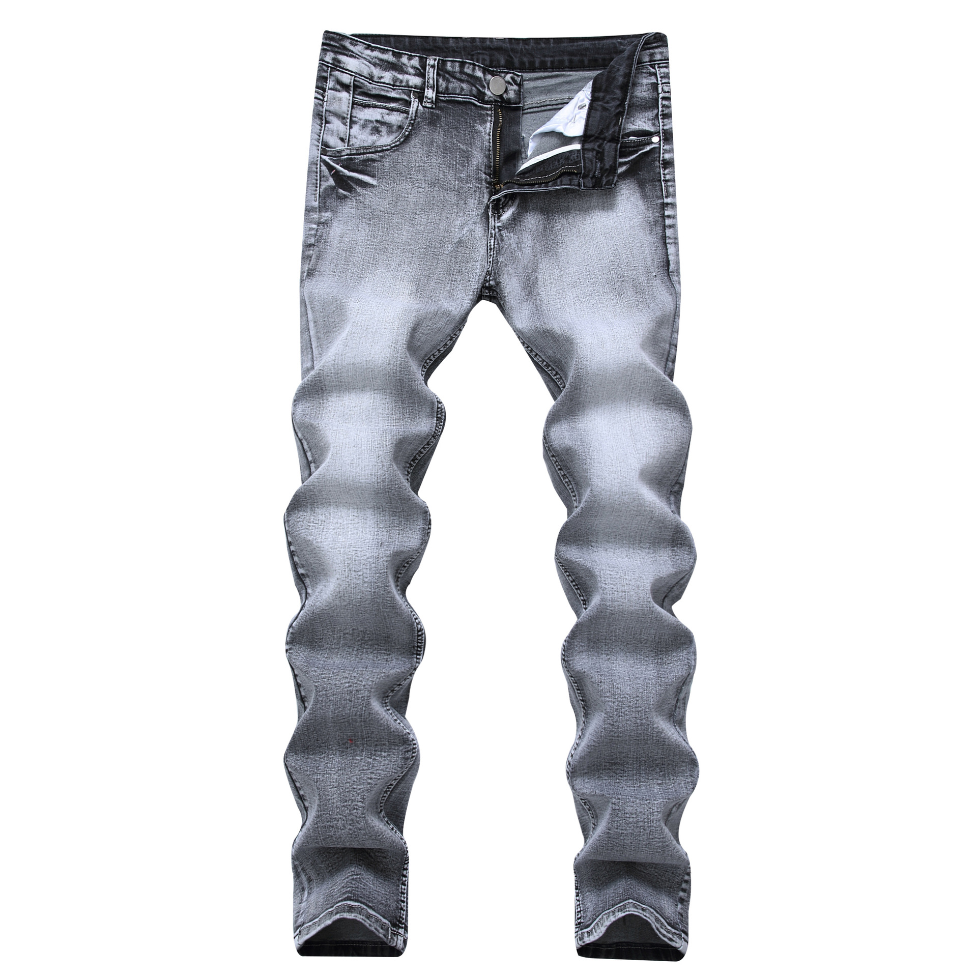 Foreign trade light gray stretch jeans Men nostalgic Straight Slim Fit Stretch Denim Pants Classic Jeans Cowboys Trousers Young