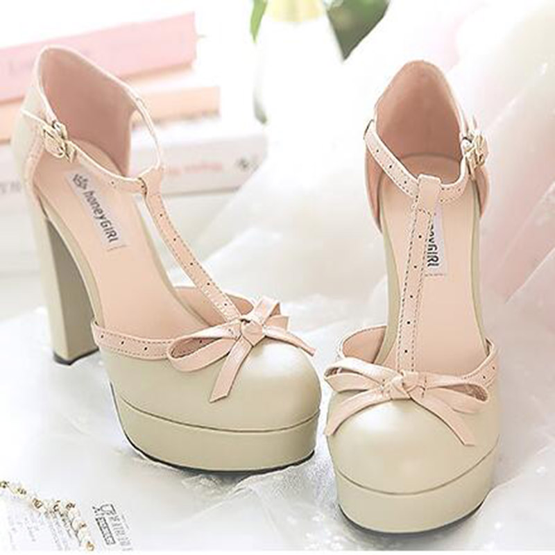 High Quality Temperament Side Hollow Breathable Buckle Sweet Bowtie Chunky Single Thick Heel Shoes Platform Pumps