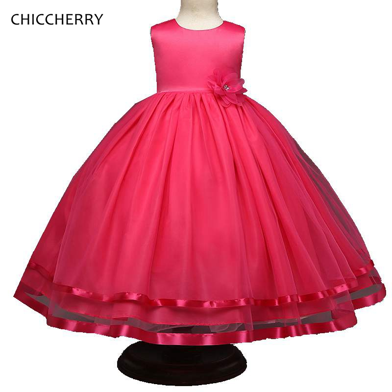 Hot Pink Summer Knee Children Girl Wedding Dress Flower Kids Birthday Party Evening Dresses Vestido De Bebe Toddler Clothing girls dress 2017 new summer flower kids party dresses for wedding children s princess girl evening prom toddler beading clothes