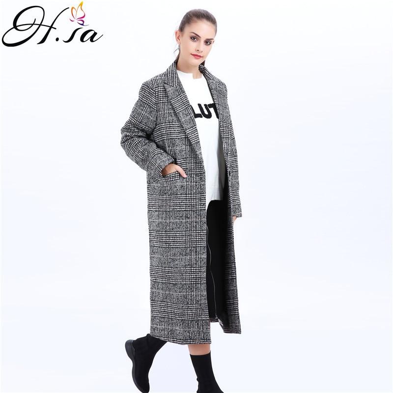 3957c8ad5c50 H. SA 2017 Herbst Winter Lange Mäntel Koreanische Karierten Jacke Warme  Wollmantel Damen X Lange Lose Manto Feminino Woolen Cloack in H. SA 2017  Herbst ...