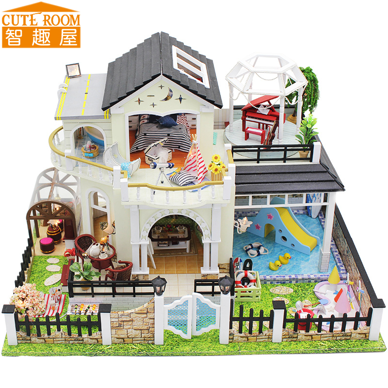 Assemble DIY Doll House Toy Wooden Miniatura Doll Houses Miniature Dollhouse toys With Furniture LED Lights Birthday Gift D030 handmade doll house furniture miniatura diy building kits miniature dollhouse wooden toys for children birthday gift craft