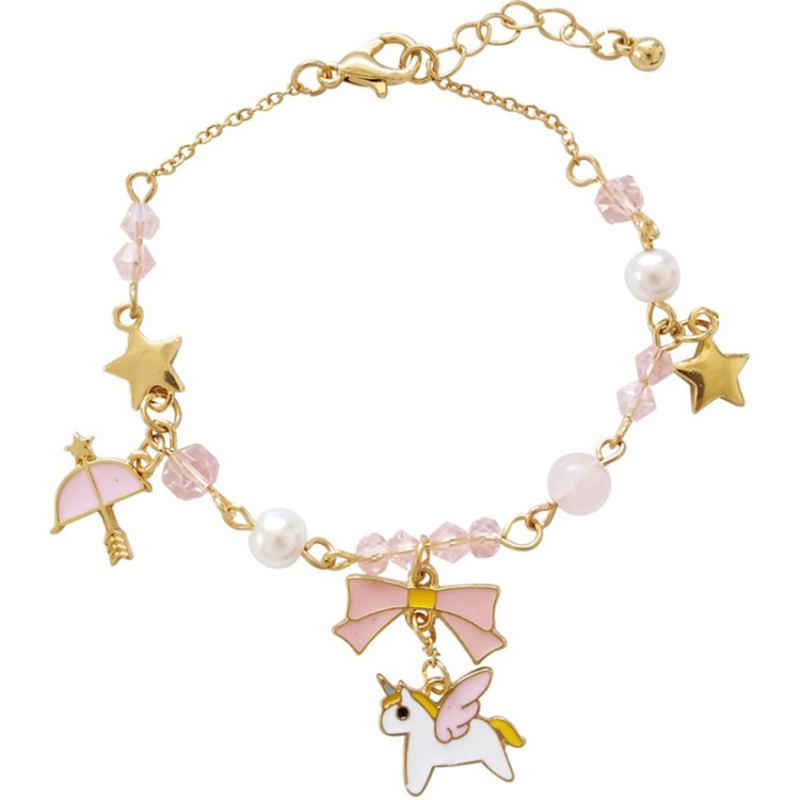 Bowknot-Bracelets Beads-Umbrella Crystal Charms Animal-Horse Star Women with for Unicorn
