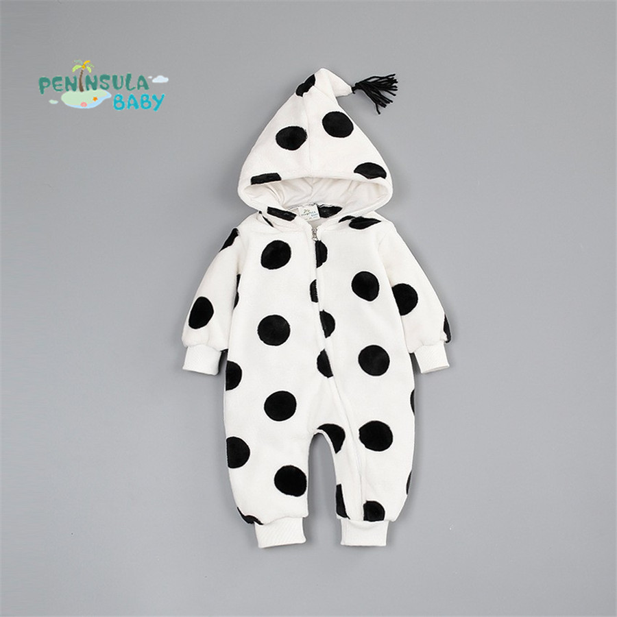 Baby Rompers Newborn Boy Girl Baby Jumpsuit Warm Coral Velvet Polka Dot Pentagram Pointed Hat Autumn Winter Children Clothes