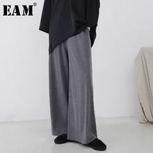 [EAM] 2019 Baru Musim Semi Pinggang Elastis Tinggi Abu-abu Longgar Lebar Kaki Merajut Celana Wanita Celana Fashion Tide JI365