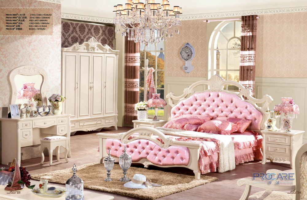 Nightstand European Style Unique Bedroom Furniture Sets With 1.8m Bed,4  Doors Wardrobe,beside Table,dressing Table And Chair
