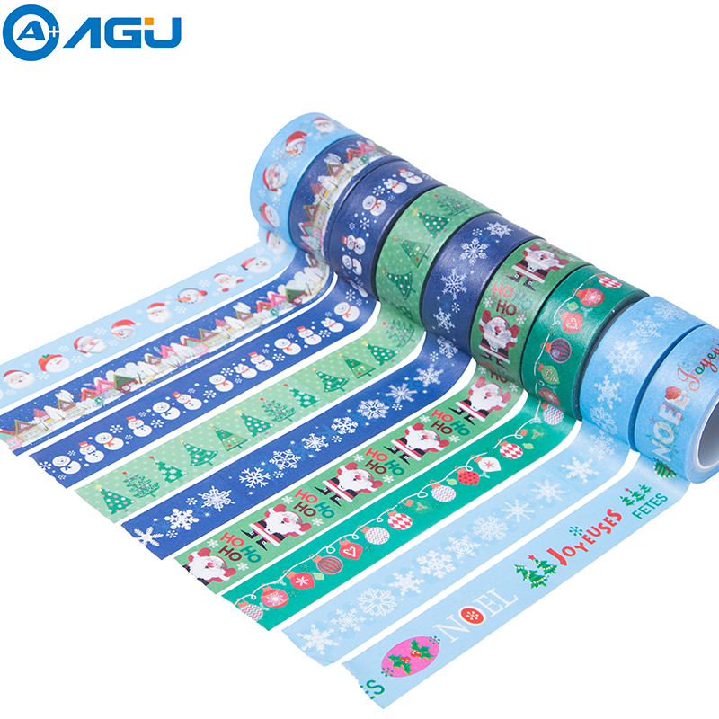 AAGU 1PC 15MM*5M Christmas Snowman Santa Claus Washi Tape Scrapbook Notebook Decorative Masking Tape Office Supplies Paper Tape inflatable cartoon customized advertising giant christmas inflatable santa claus for christmas outdoor decoration
